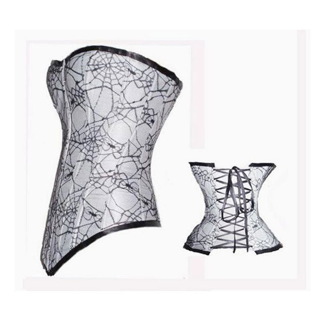 free shipping bustier Adult Women Spider Web print Corset Women white Overbust Bustier Hot cobweb design Sexy corset w3190