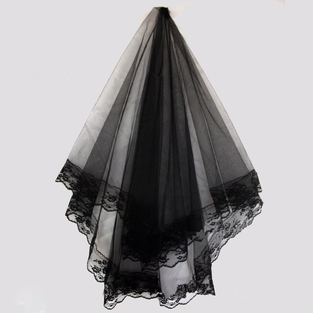In Stock Wholesale 2015 Gothic Dress Bridal Veil 1t Black
