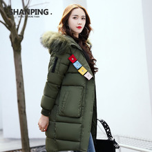 SHANPING 2017 Winter Fashion Removable Collar With Real Silver Fur Thickening Parka Women's Jacket For Women Coat