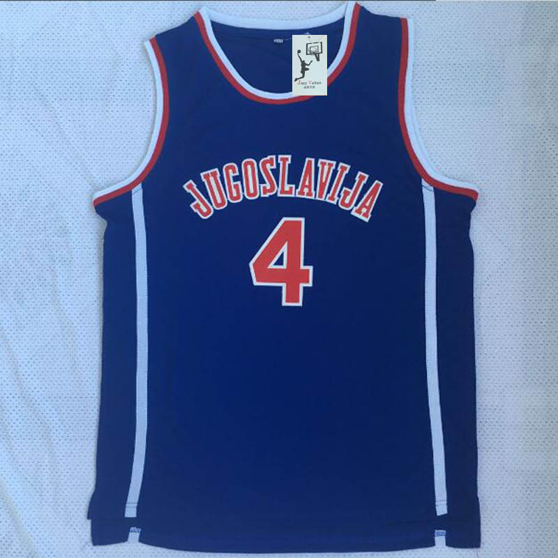 Jazz Drazen Petrovic  4 Jugoslavija Jugoslávia Croácia Vaiten Novo Barato  Reminiscência Basketball Jersey Azul Costurado 3d9676974