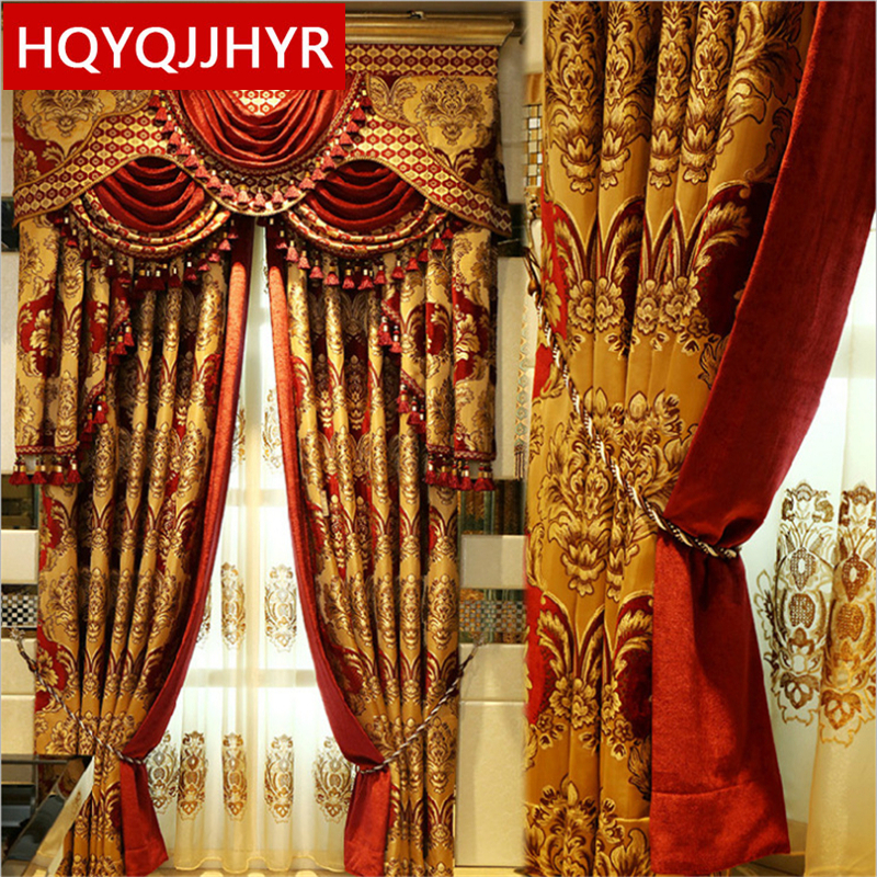 Royal Aristocratic European Embroidery Full Shade Curtains For Living Room Upscale Villas Decorated Curtains For Bedroom/Hotel