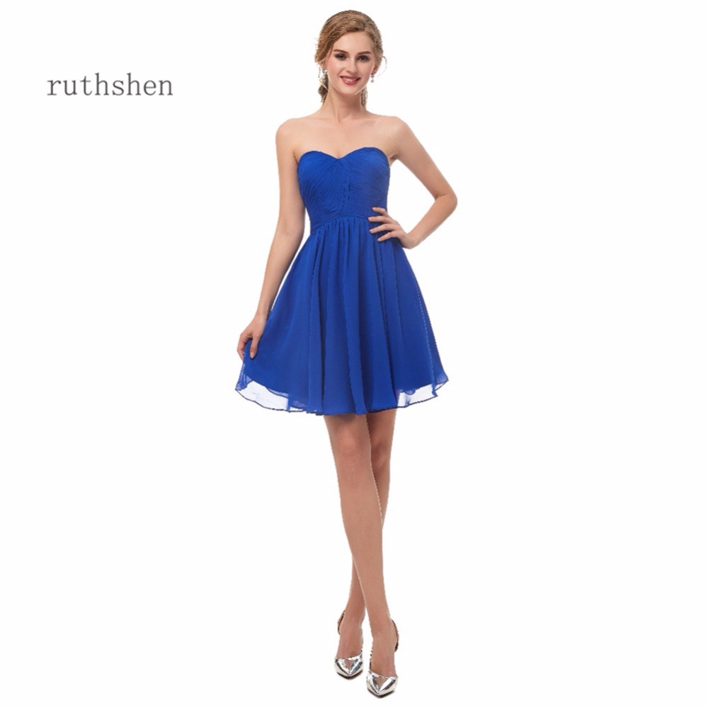 ruthshen Cheap Mini   Cocktail   Party   Dresses   2018 A Line Strapless Sleeveless Ruched Short Prom   Dress   Robe De   Cocktail   Longue