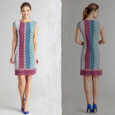 Femmes Sleevess Haute Imprimé Designer Summer Dress Genou Casual 2015 Piste Multicolore De Soie Qualité Longueur Géométrie 1IBTgq