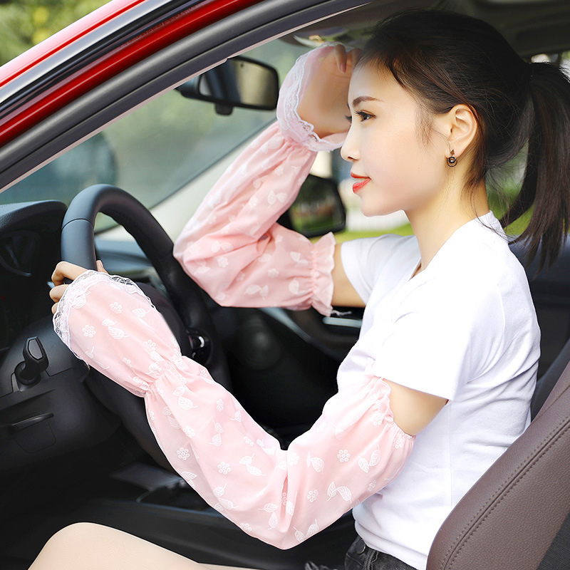 1 Pair Femme UV Sunscreen Car Driving Gloves Cycling Cuff Hand Protection Women Fingerless Lace Floral Long Gloves Arm Sleeves