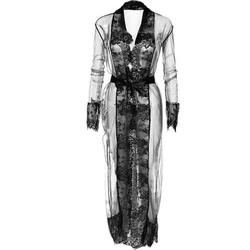 Moda damska damska jednolita seksowna z długim rękawem koronkowe kimono Mesh Sheer letnie wakacje okrycie plażowe w górę długiej sukni