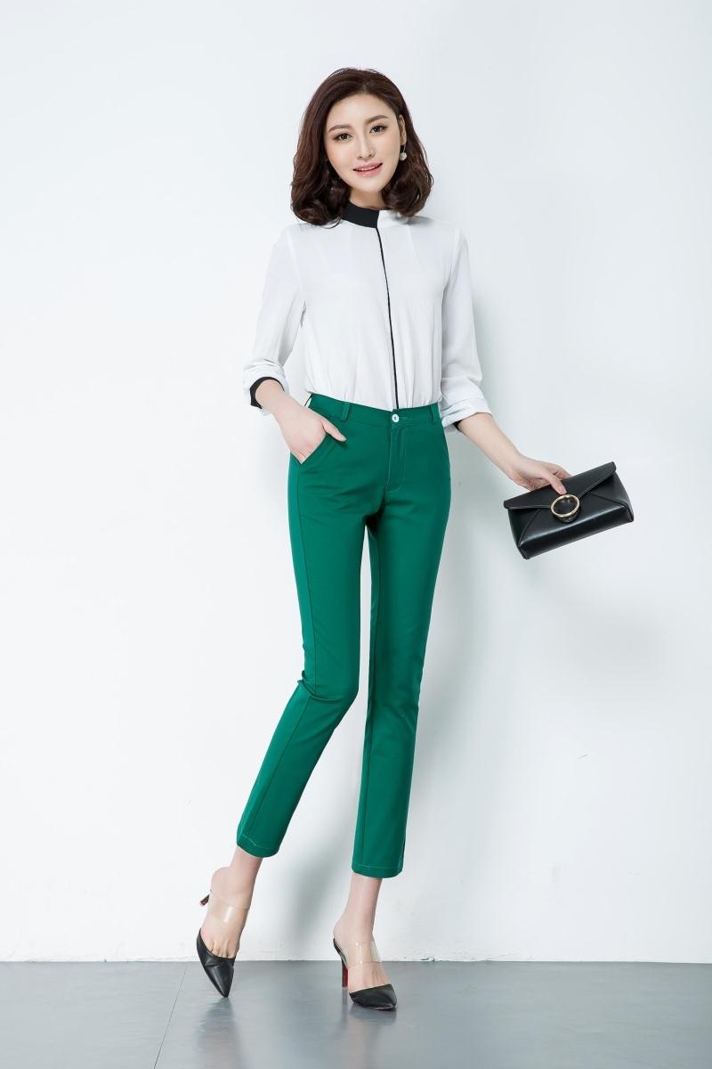Casual Trousers Women 95% Cotton Elastic Slim Skinny Pants femal Spring Street Wear Pencil Pants Ladys Elegant Office Work Pant 7