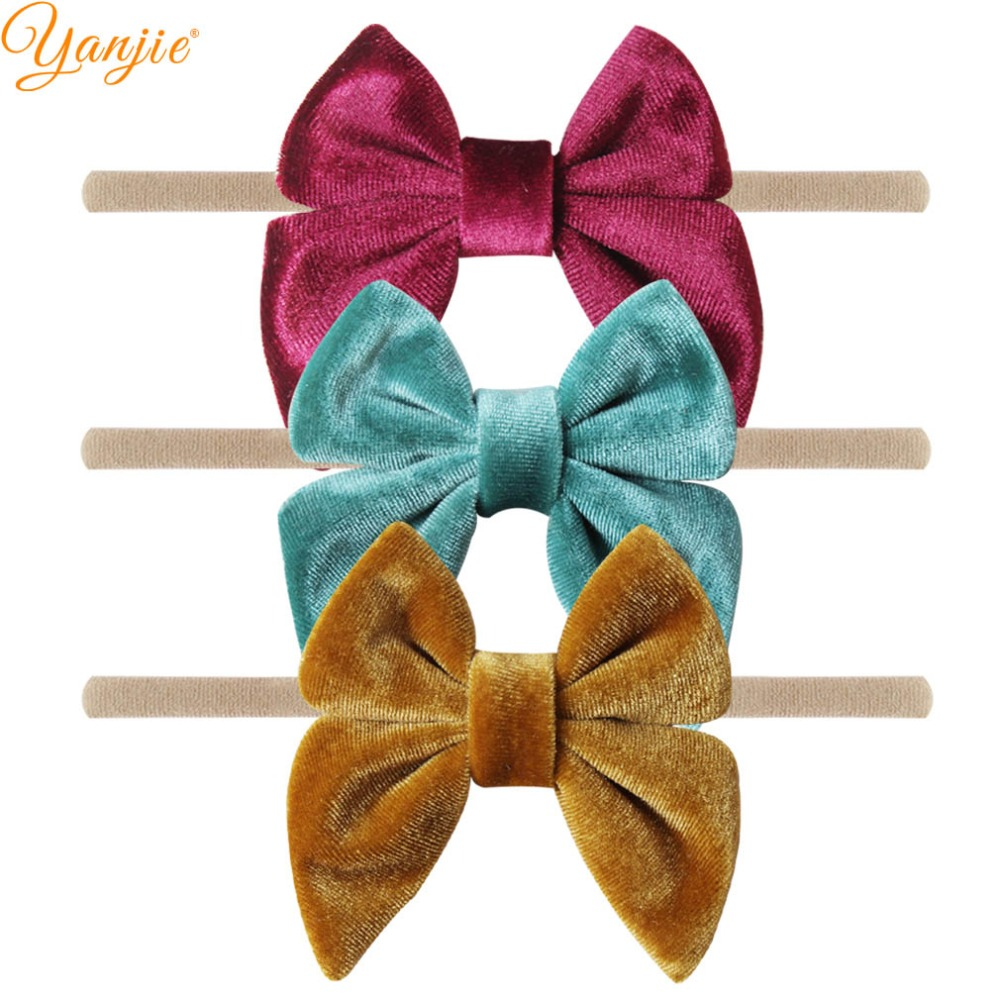 Image 5 - 12pcs/lot 3'' Velvet Bow Nylon Headbands For Girls Smooth Velvet Hair Bow Elastic Skinny Khaki Nylon Hair Band Hair Accessories-in Hair Accessories from Mother & Kids