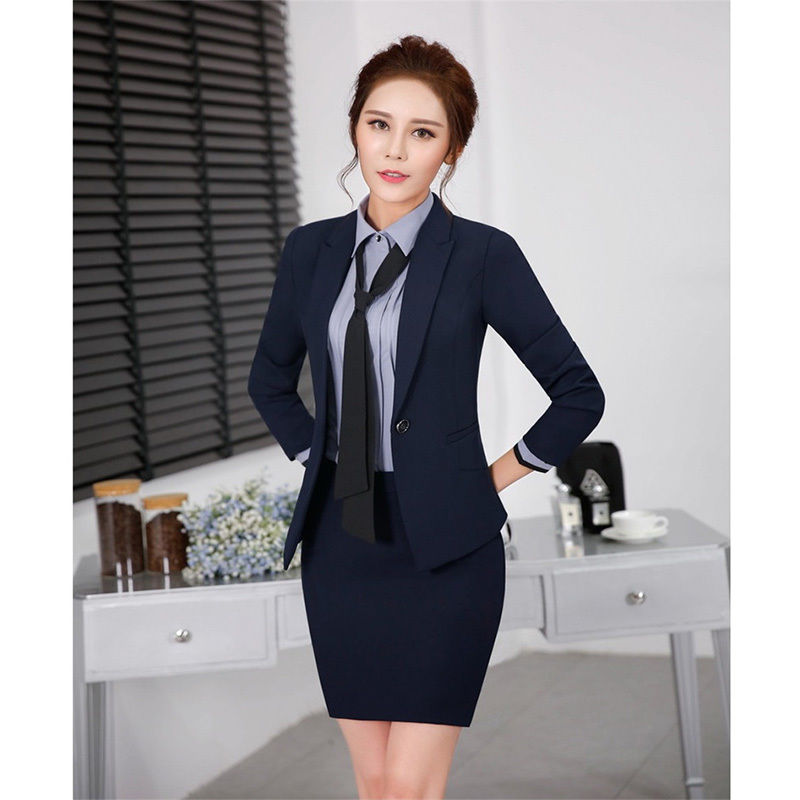 Темно синий женский деловой костюм с юбкой женский деловой костюм для офиса формальная одежда юбка для работы костюм из 2 предметов B345