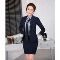 Navy Womens Business Skirt Suits Female Office Business Uniform Formal Wear Work Skirt 2pc Suit B345