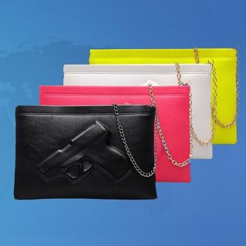 Vintage 3D pistol women shoulder bags chain strap black Casual purses handbags chain bag gun for women ladies hand bags