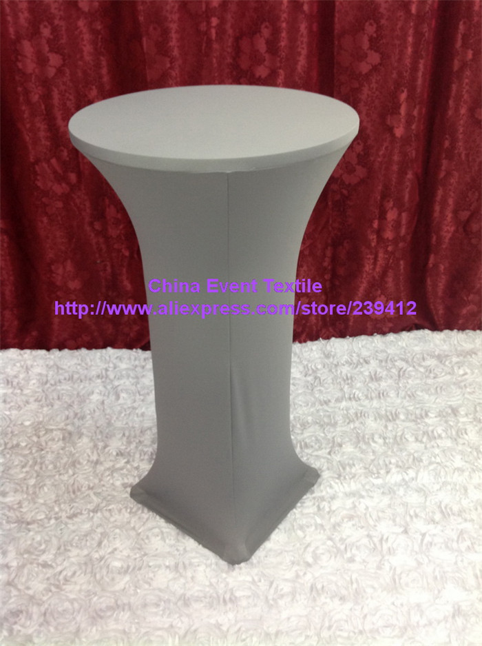 10pcs Extra Thicker #16 Light Sliver Lycra Cocktail Table Cover ,Lycra Dry Bar Cover Wedding Events &Party Decoration