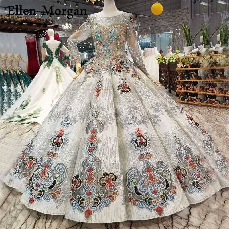 Silver Wedding Gowns: Silver Lace Ball Gowns Wedding Dresses For Women Vintage