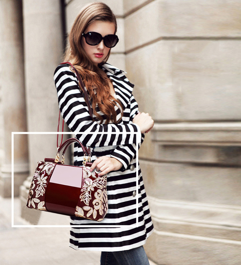 Nevenka bordado feminina bolsa de couro do