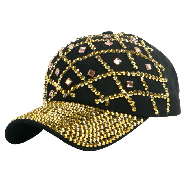 high quality new style gold color rhinestone net design spring summer women  girl decorate hip hop snapback baseball cap hats 04bf78954fd1