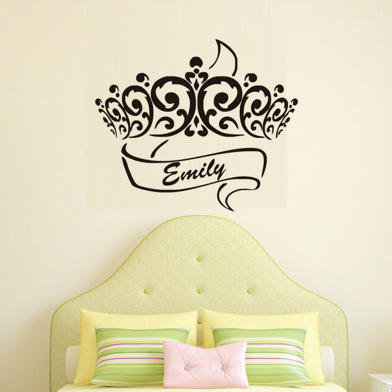 Princess Crown Wall Stickers Customized Names Removable Nursery Wall ...