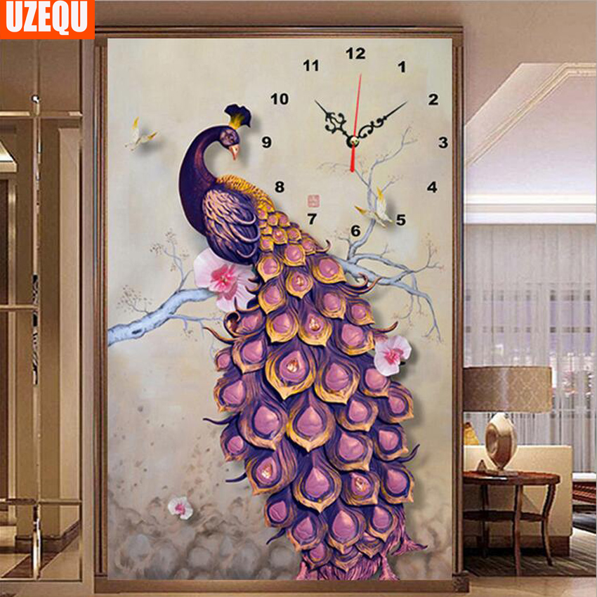 Uzequ 5d Diy Diamond Painting Wall Clock Peacock Cross