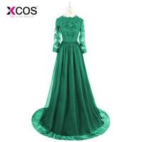 Vestidos De Festa 2017 Dubai Dark Green Muslim Evening Dresses With Long Sleeves Lace Appliques Prom