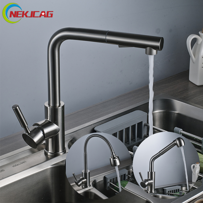 Kitchen Faucet Deck Mounted Swivel Pull Out Single Handle Dual control Mixer Tap new pull out swivel chrome brass kitchen faucet spout vessel basin sink single handle deck mounted mixer tap mf 446