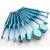 Azul Oval Suave Escova de Maquiagem profissional Jogo de Escova MULTIUSO Ferramentas Faciais Foundation Pó Escova Kit Sombra Delineador