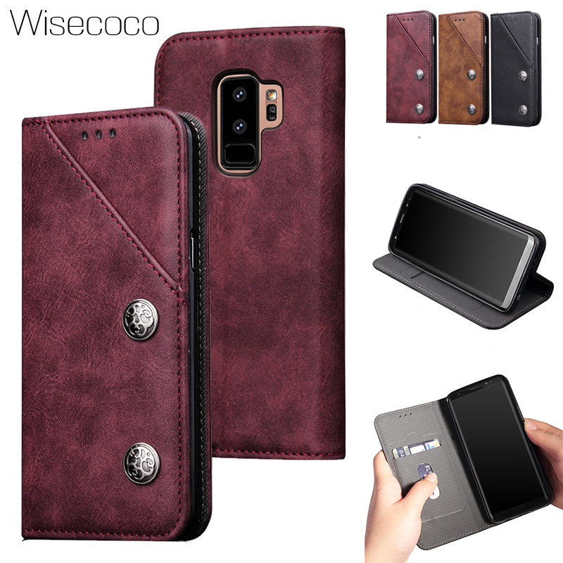 Retro Flip Wallet Note8 Case For Samsung Galaxy S8 S9 Plus Note 8 Luxury Leather Stand Card Holder Bags Cover Protector Carcasas