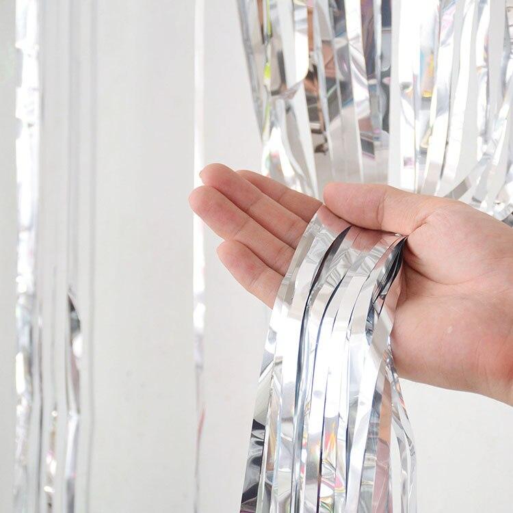 2 м девичник вечерние занавески День Рождения украшения стены Свадебные украшения день рождения украшения для взрослых - Цвет: Silver