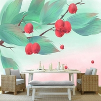 Custom European Style Modern Hand Drawn Leaves Fruits Photo Wall Mural Embossed Non woven Living Room Extra Thick TV Background