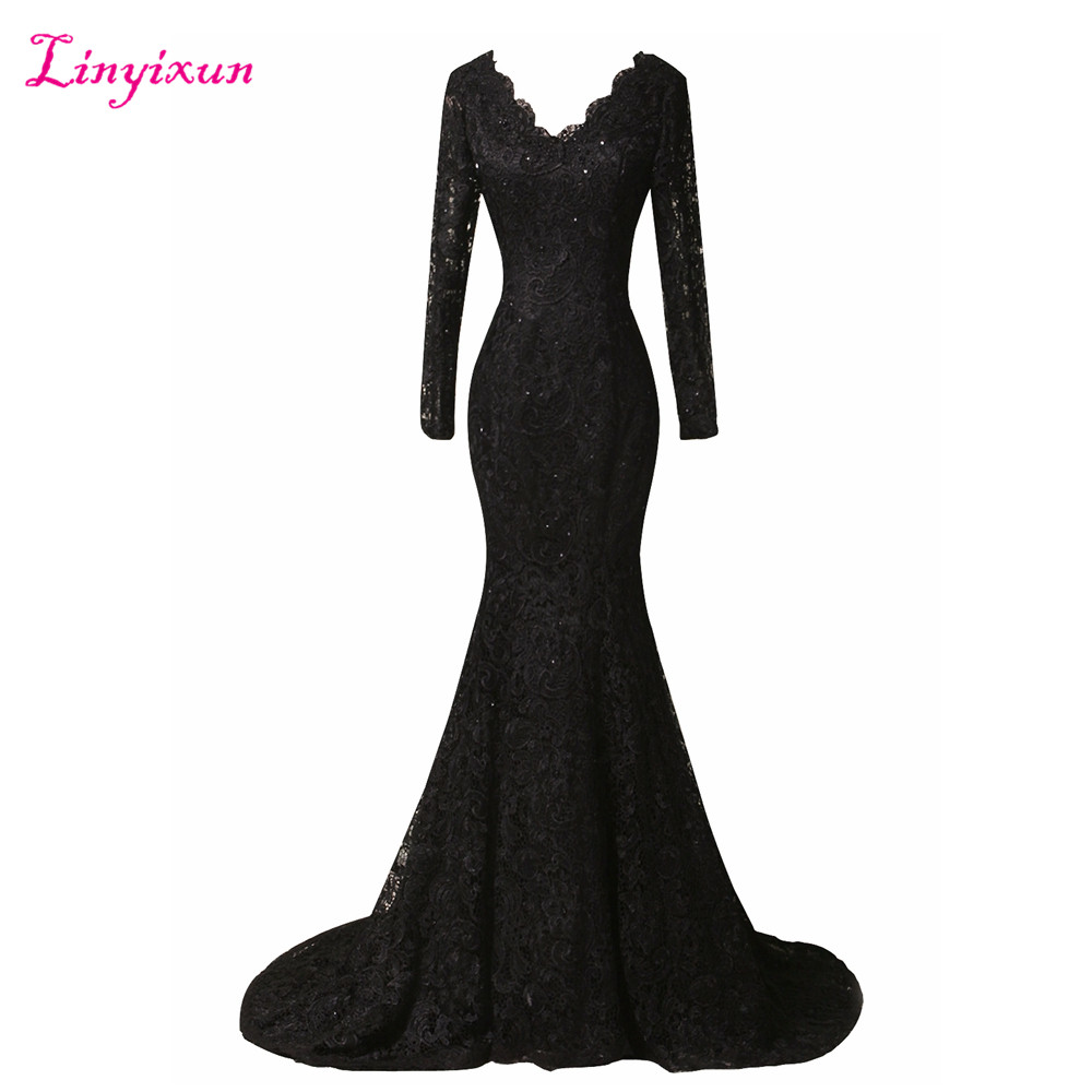 Linyixun Real Photo Black V Neck Lace Prom Dresses 2017 Sweep Train Full Sleeve Evening Dresses With Appliques Robe de soiree