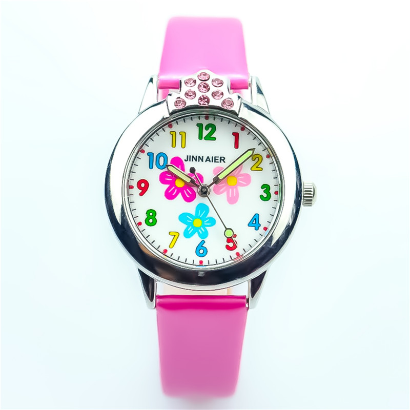 Nazeyt New Little Boys And Girls Lovely Flower Dial With Crystal Quartz Watch Children Leather With Diamond Best Gift Clock