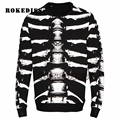 2016 new autumn winter brand casual top fleece men cool fashion funny sweatshirt hoodies male skeleton printing stripe G080