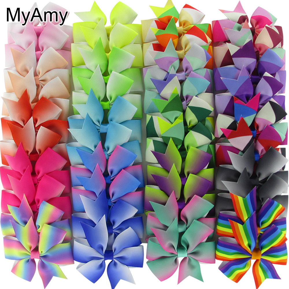 MyAmy 40pcs/lot 3'' Grosgrain Ribbon Boutique Hair bows WITH Alligator Clips Pinwheel Rainbows Bow For Girls kids hairbow 10pcs lot high quality hair band with grosgrain ribbon flower for girls handmade flower hairbow hairband kids hair accessories