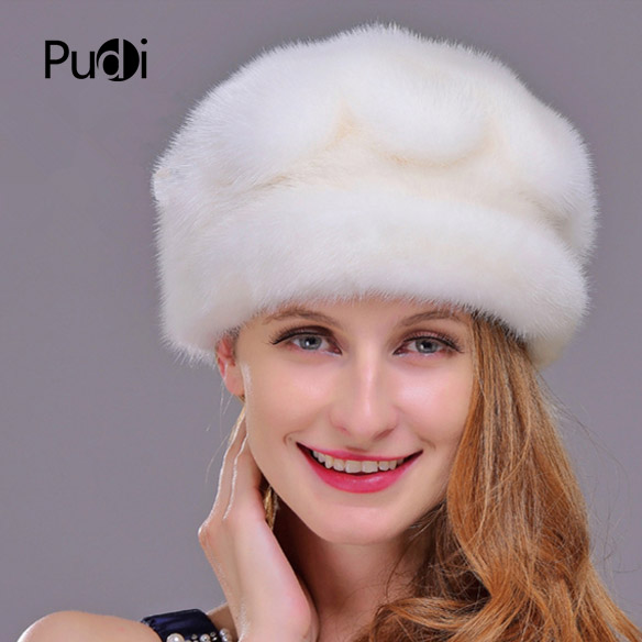 HM020 Winter hats for women  Real genuine mink  fur hat  women's winter hats whole piece mink fur hats 1