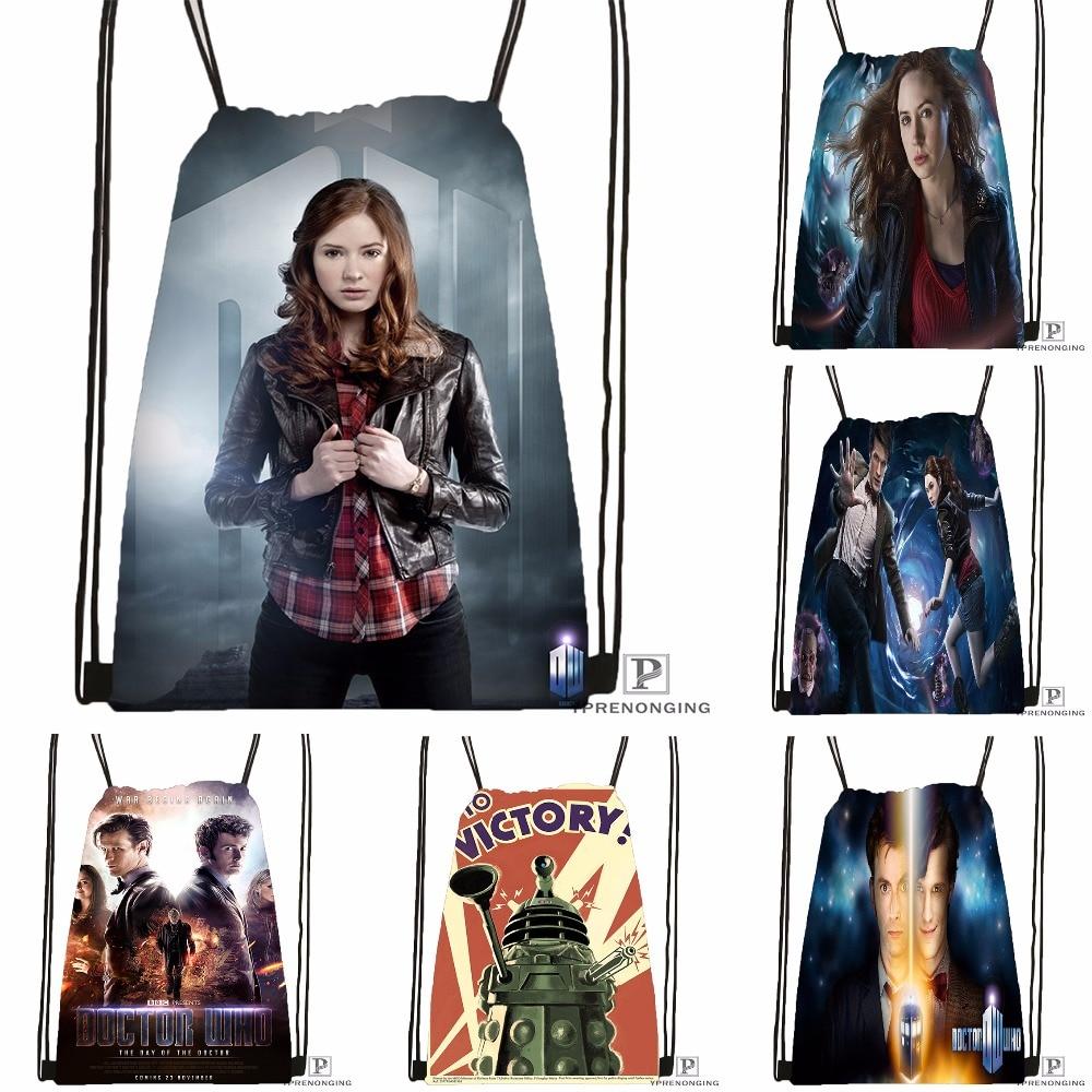 Custom Doctor Who Drawstring Backpack Bag for Man Woman Cute Daypack Kids Satchel Black Back 31x40cm