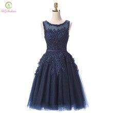 Халат De Soiree ssyfashion Кружева Короткие коктейльные платья банкет невесты элегантной вышивкой вечернее платье, расшитое бисером торжественное платье Пользовательские