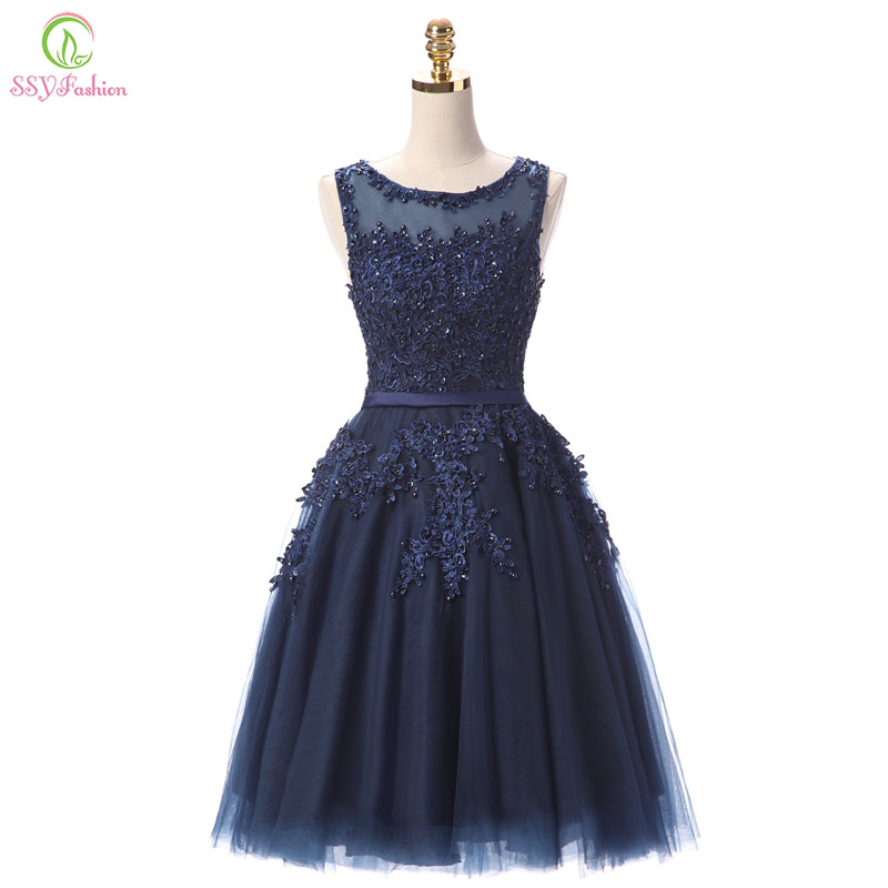 Robe De Soiree SSYFashion Lace Short Cocktail Dresses Bride Banquet Elegant Embroidery Beading Party Gown Formal Dress Custom