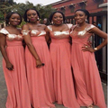 Cheap Coral Bridesmaids Dresses A Line Sequins Chiffon Bridal party Gowns Custom Size Maid of Honor Gown