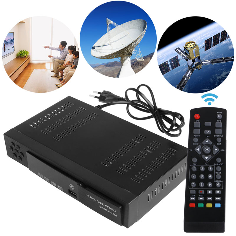 Digital Satellite DVB T2 S2 Combo HD TV Top Box Tuner Receiver MPEG4 H 264 USB