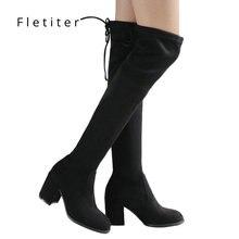 2019 Flockหนังผู้หญิงกว่าเข่าบู๊ทส์Lace Upเซ็กซี่สแควร์รองเท้าส้นสูงผู้หญิงรองเท้าWinter Bootsอบอุ่นplusขนาดยี่ห้อ