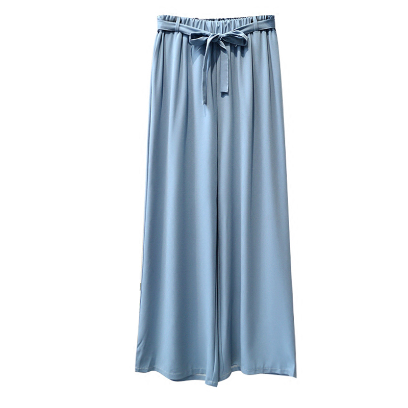 TIGENA Vintage Loose Wide Leg Pants Women 2018 Summer Cool Chiffon Trousers Women High Waist Pants Female With Sashes Blue Red