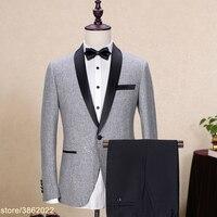 Заказ Абсолютно Шерсть Для мужчин костюмы серый Черная курточка пиджаки Мужской костюм смокинги для свадьбы и выпускного Geroom Бизнес куртка