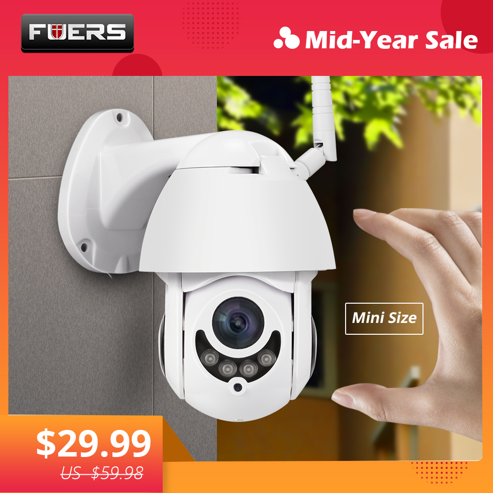 FUERS Outdoor PTZ IP Camera CCTV Security Speed Dome Camera Surveillance WIFI 1080P H.264+ Night Vision Motion Detection