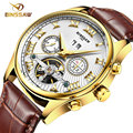Homens Relógio Mecânico Automático Sapphire BINSSAW Caso Top De Luxo Da Marca Ouro Amarelo Ouro Cara Preta Pulseira de Couro Relógio de Forma