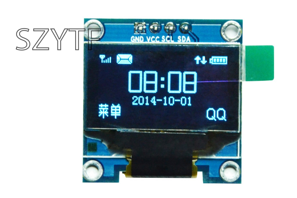 0.96 inch OLED display 12864 LCD blue and yellow screen module IIC interface display screen for arduino