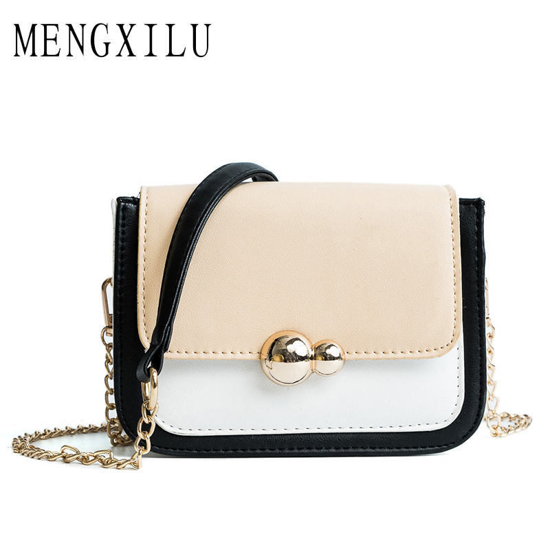 MENGXILU Brand Fashion Women Messenger Bags Chains Design Pu Leather Girls Shoulder Lock Women Crossbody Bag 2018 Small Flap Bag