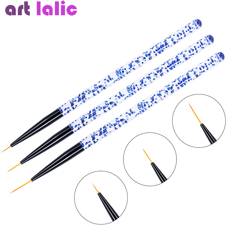 3pcs/set Nail Art Line Painting Pen 3D Tips Acrylic UV Gel Brushes Drawing Crystal Liner Glitter French Design Manicure Tool