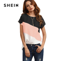 SHEIN Cut And Sew Patchwork Tops Color Block Casual Blouse 2017 Cap Sleeve Women Summer Tops