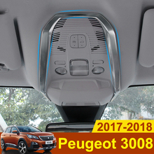 Stainless Steel Car Front Rear Reading Light Lamp Decoration Trim Frame Cover For Peugeot 3008 3008GT 2017 2018 2019 Accessories car stainless steel rear door license tailgate bumper frame plate trim lamp trunk 1pcs for peugeot 3008 gt 3008gt 2016 2017 2018
