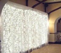 6 M x 3 M 600 LED cascada exterior de hadas de la navidad luz cortina de la secuencia hoteles boda del acontecimiento del partido de la etapa del jardín del Hotel suministros para clubes