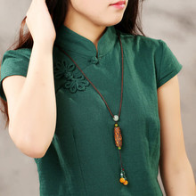 Necklace for women Jewelry gift Long design necklace vintage beads pendant female brief all-match accounterment national trend
