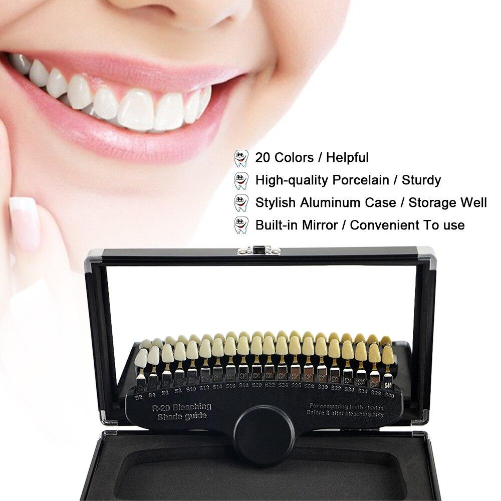 20 couleurs jeu de blanchiment des dents Guide d'ombre 3D comparateur de couleur miroir dentisterie lumière froide dents blanc blanchiment plaque dentaire - 4