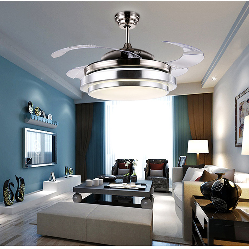 Modern simple invisible fan lamp 220V Wireless control ceiling fan light to bedroom